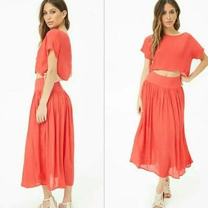 NWOT red crop top and skirt set